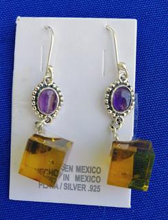 Amber Cubes & Silver Earrings $950 pesos plus shipping (mas envio)