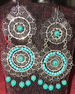 """""""Peanuts"""" Turquoise & Silver Filigree Earrings $1,800 pesos plus shipping (mas envio)"""