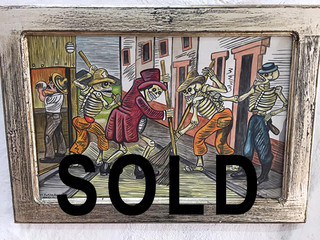SOLD--Antique Wood frame with Painting $1800 pesos plus shipping (mas envio)