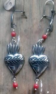 Milagro silver earrings with coral $2250 pesos plus shipping (mas envio)