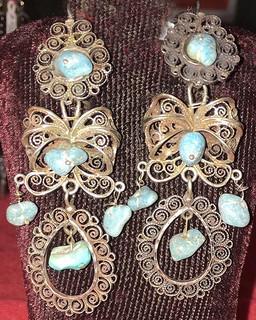 Turquoise & Silver Filigree Earrings $2,300 pesos plus shipping (mas envio)