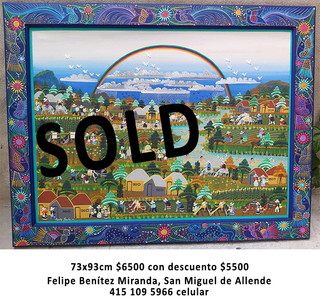 SOLD--Nahuatl Painting $5,500 pesos (discounted from $6,500) plus shipping (mas envio)