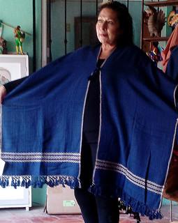 Medium-size Navy Blue with Cream Cotton  Ruana/Poncho $1650 pesos plus shipping (mas envio)