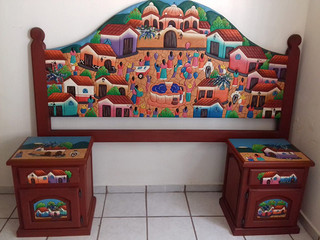 Hand-carved matrimonial Headboard & 2 Bureaus $6,500 pesos plus shipping (mas envio)
