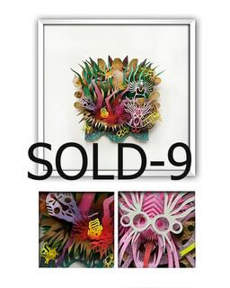"""SOLD-""""THE MASK COLLECTOR"""" Papercut Art $3,600 pesos plus shipping (mas envio)"""