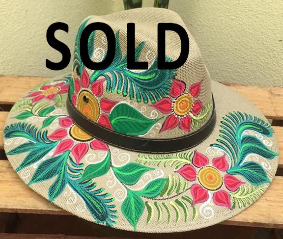 SOLD-Hand-painted Hat $350 pesos plus shipping (mas envio)