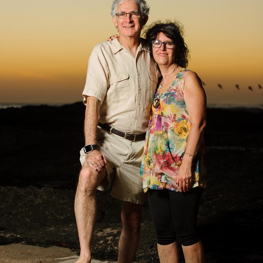 Grandpa and Grandma at the tide pools on Langosta Beach