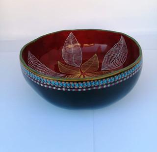 Gourd bowl diameter 15 cm. Circumference 48 cm. Price $700.00.jpeg