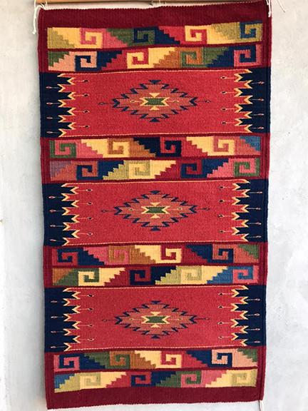 Hand-woven Natural Dye rug $4,000 pesos plus shipping (mas envio)