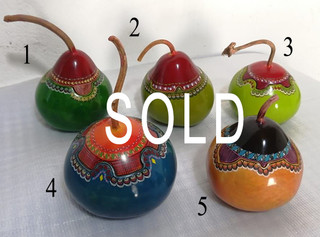SOLD-Hand-painted Gourd Jewelry Boxes $550 each/cu plus shipping (mas envio) -- Please note the number of your choice