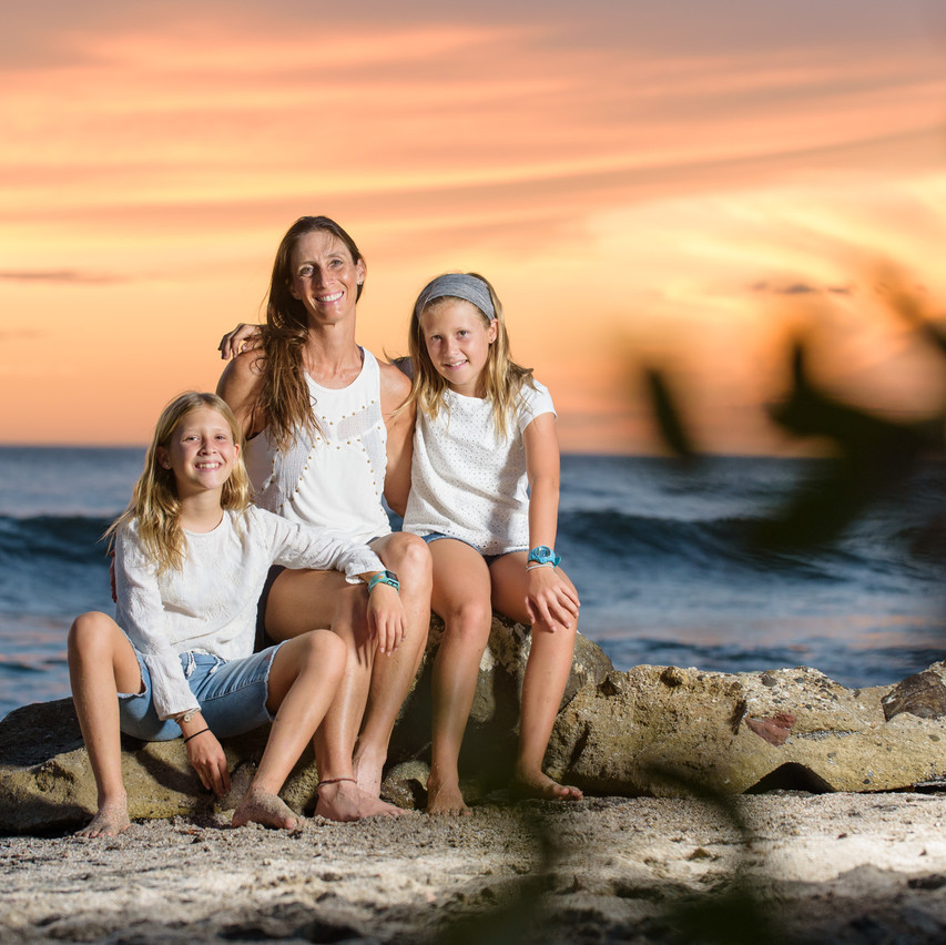 Mother and daughters in Tamarindo