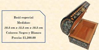 Wood inlaid w/abalone trunk $1,200 pesos plus shipping (mas envio)
