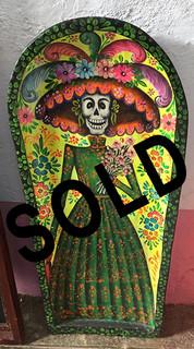 SOLD-Wood Hand-painted Batea $3,800 pesos plus shipping (mas envio)