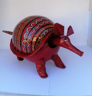 Armadillo red color length 35 cm. Height 17 cm price $2500.00.jpeg