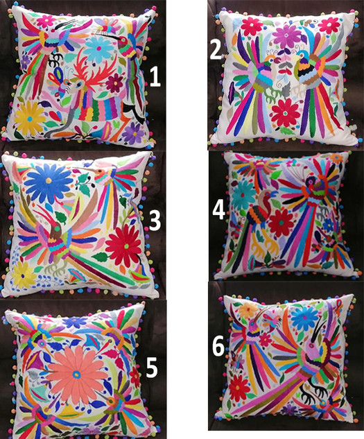 Otomi Hand-embroidered Pillow Covers with Pompoms $750 pesos; without pompoms $650 pesos plus shipping (mas envio)