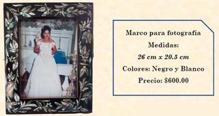 Wood inlaid w/abalone picture frame $600 pesos plus shipping (mas envio)