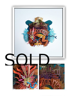 "SOLD-""MARKED MAN"" Papercut Art $3,600 pesos plus shipping (mas envio)"