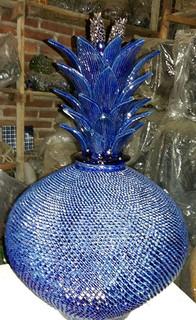 Hilario Alejos Madrigal: Hand-crafted ceramic cobalt blue piña $4,500 pesos plus shipping (mas envio)