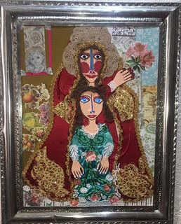 """""""Mi Madre me Acobija"""" Collage with Tin Frame $4000 plus shipping (mas envio)"""