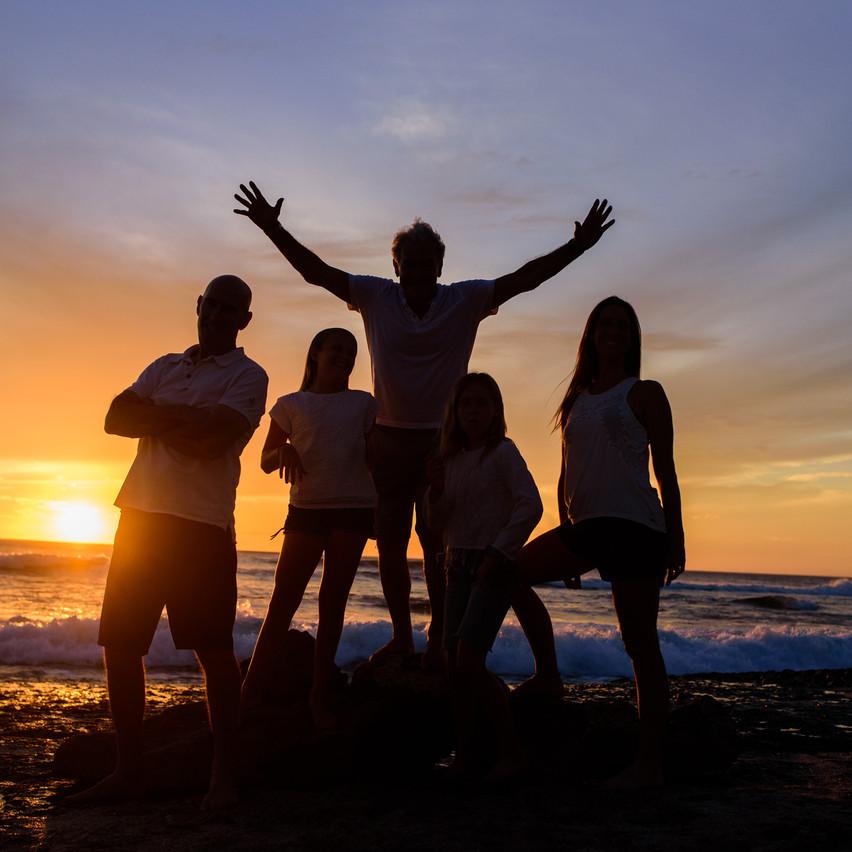 Silhouette family portrait at Playa Langosta