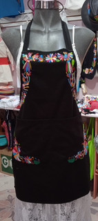 Hand-Embroidered Gabardine Otomi Apron $850 pesos plus shipping (mas envio)