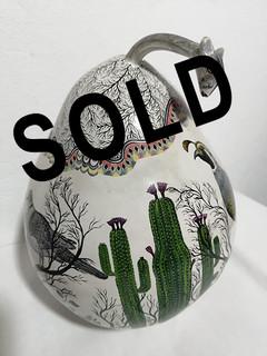 SOLD-Hand-painted 'Desert' Gourd Sewing Kit $9500 pesos plus shipping (mas envio)