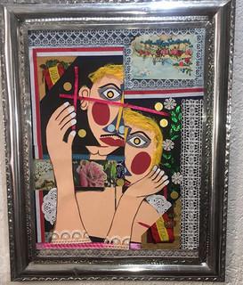 """""""Confusión"""" Collage with Tin Frame $4000 plus shipping (mas envio)"""
