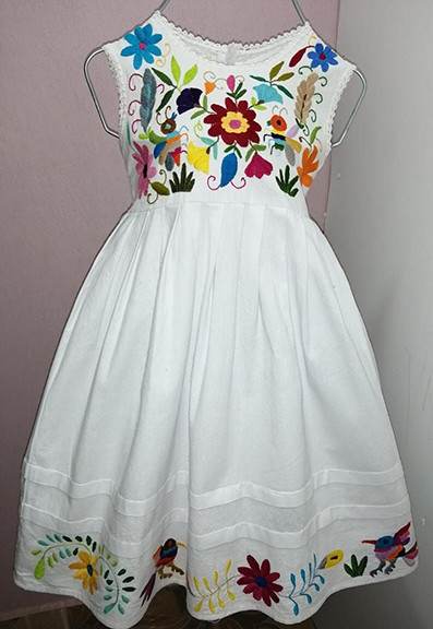 Cotton Dress with Otomi Embroidery $Size 1: $550; Size 2: $600; Size 4: $650; Size 6: $700; Size 8: $750 plus shipping (mas envio)