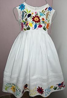 Cotton Dress with Otomi Embroidery $Size 1: $550; Size 2: $600; Size 4: $650; Size 6: $700; Size 8: $750 plus shipping (mas envio)