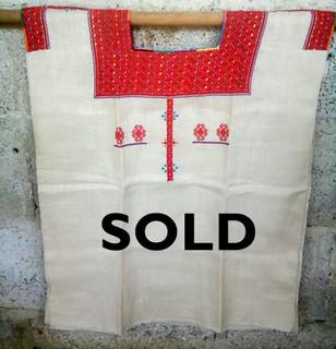 SOLD-White linen huipil $1600 pesos plus shipping / mas envio