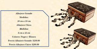 Wood inlaid w/abalone jewelry box $200/small; $280/large pesos plus shipping)