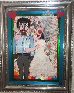 """""""Senoscaso  Pancho""""  Collage with Tin Frame $4000 plus shipping (mas envio)"""