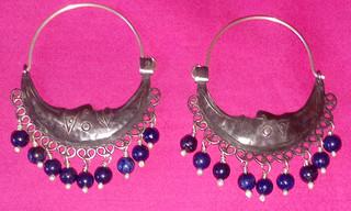 Arracada Moon Silver Earrings with lapizlazuli $2050 pesos plus shipping (mas envio)