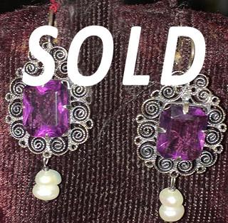 """SOLD--""""Coquettes"""" Silver Filigree Earrings $800 pesos plus shipping (mas envio)"""