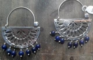 Arracada Papel Picado silver earrings with lapislazuli $2050 pesos plus shipping (mas envio)