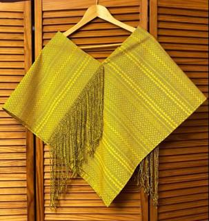 """Ikat """"Queshquemetl"""" poncho-style garment with beaded rapacejo $2,800 pesos plus shipping"""