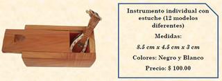 Wood inlaid w/abalone individual mini-musical instruments w/wood box $100 pesos plus shipping (mas envio)