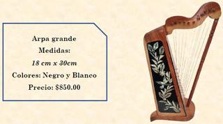 Wood inlaid w/abalone harp $850 peoss plus shipping (mas envio)