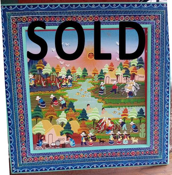 SOLD -- Nahuatl Painting $1,500 pesos plus shipping (mas envio)