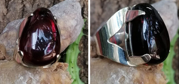 Red amber ring set in 925 sterling silver $950 pesos plus shipping (mas envio)