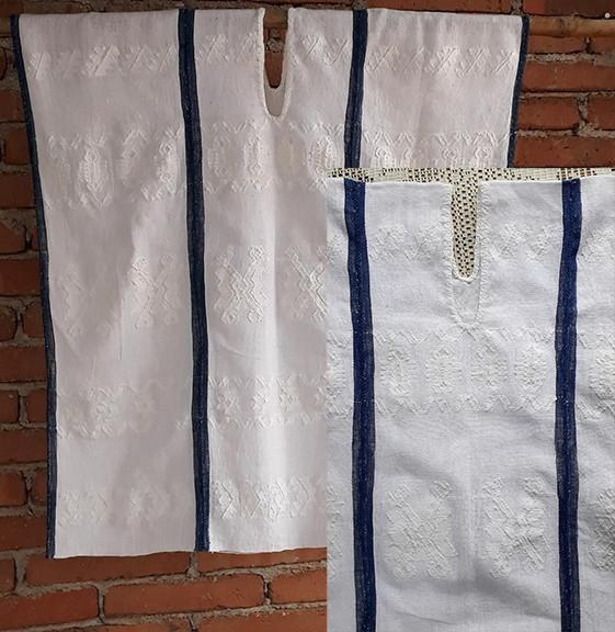 White huipil with white & indigo brocade $2,500 pesos plus shipping (mas envio)