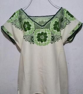 Huipil with dark/light green embroidery $1400 pesos plus shipping (mas envio)