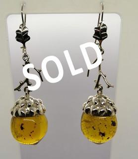 SOLD--Amber & Silver Hazelnut Earrings $1,250 plus shipping (mas envio)