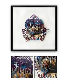 """""""NAHUAL PRAYING"""" Papercut Art $3,900 pesos plus shipping (mas envio)"""