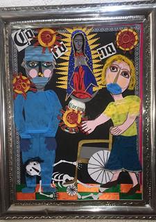 """The Virgin & the Corona Virus"" Collage with Tin Frame $4000 plus shipping (mas envio)"