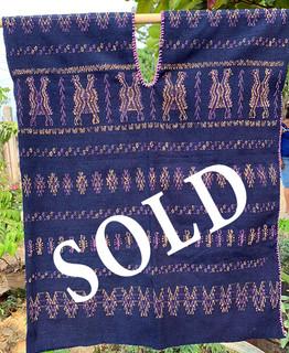 SOLD--Endangered: Indigo huipil $3,200 pesos plus shipping (mas envio)