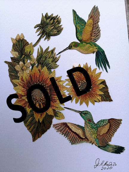 SOLD--Sunflowers & Hummingbird Straw Painting $2,800 pesos plus shipping (mas envio)