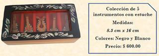 Wood inlaid w/abalone 5 mini-musical instruments $600 pesos plus shipping (mas envio)