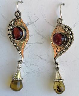 Red & Yellow Amber & Silver Earrings $1550 pesos plus shipping (mas envio)