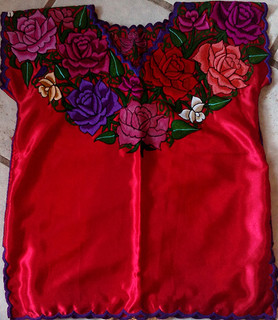 Red Embroidered Blouse $650 pesos plus shipping (mas envio)